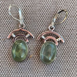 Green fluorite and sterling earrings